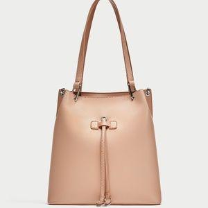New! Pink Zara Metallic Detal Shoulder Bag